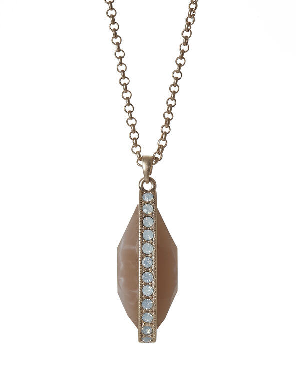 Neutral Marble Teardrop Necklace, Gold/Neutral, hi-res