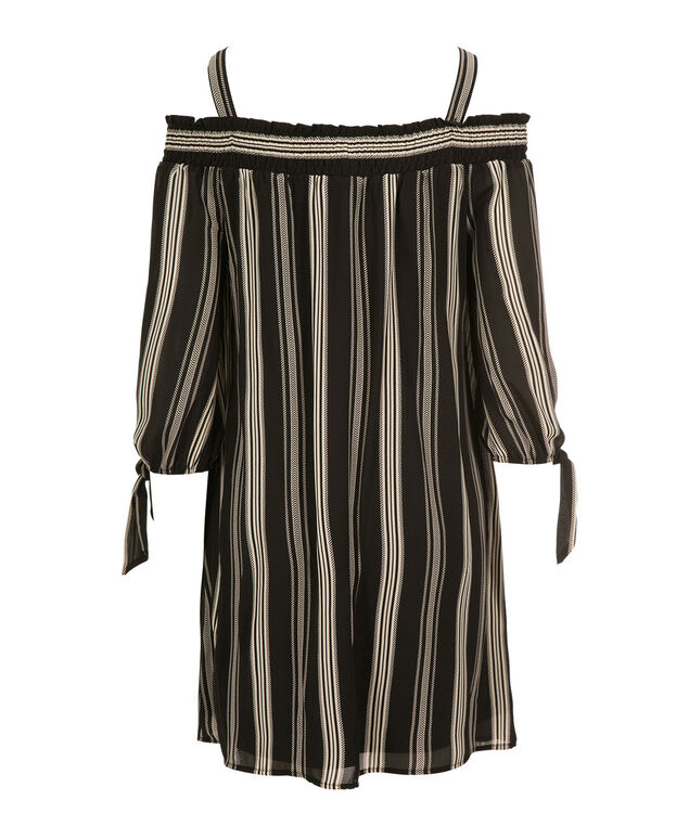 Luxology Cold Shoulder Stripe Dress, Black/White, hi-res