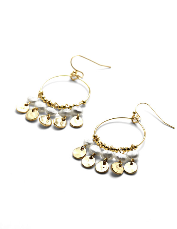 Pearl Fringe Hoop Earrings, Gold/Pearl, hi-res