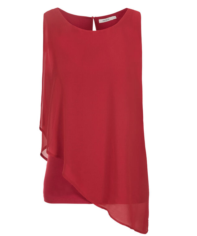 Asymmetric Woven Overlay Top, Poppy Red, hi-res
