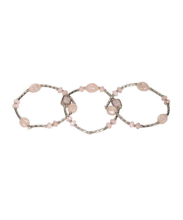 Faceted Stone Bracelet Set, Misty Pink/Rhodium, hi-res