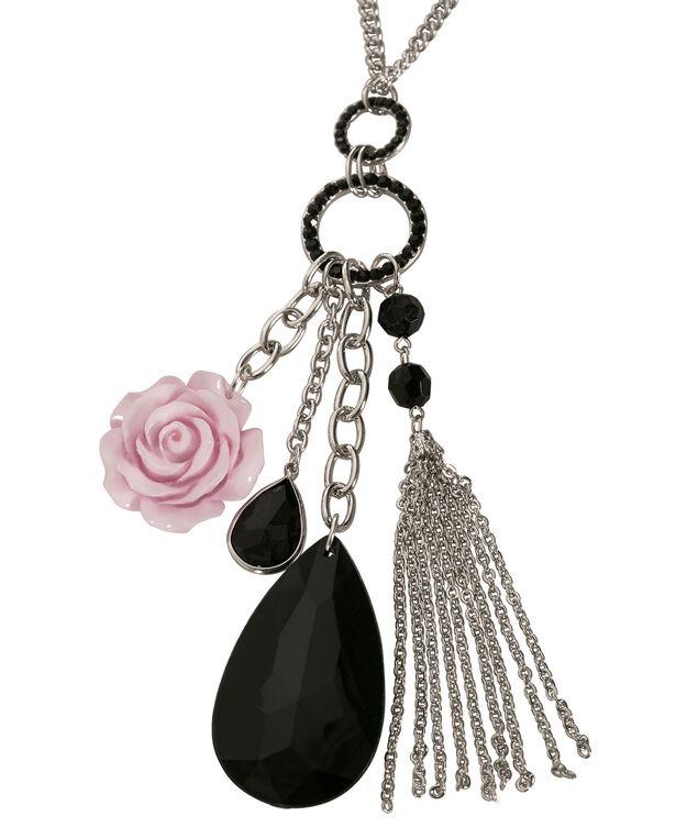 Rose Cluster Pendant Necklace, Misty Pink/Black/Rhodium, hi-res