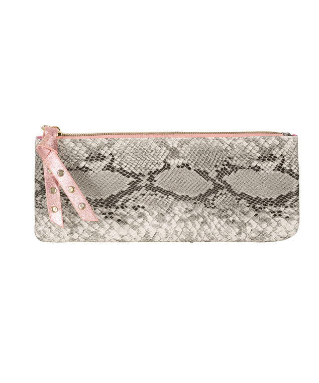 Snake Print Travel Pouch, Pink/Grey, hi-res