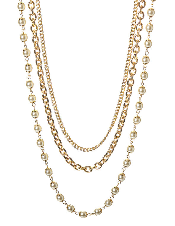 Long Gold 3 Row Necklace, Gold/Ivory, hi-res