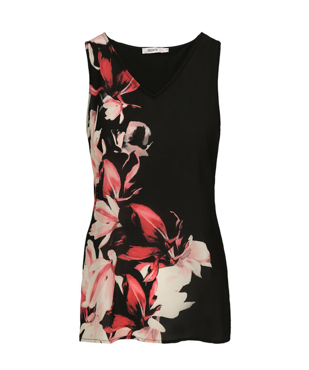 Floral Print Tank, Black Pattern, hi-res