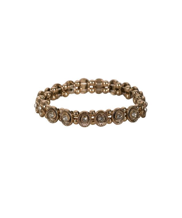 Circle Crystal Stretch Bracelet, Antique Gold, hi-res