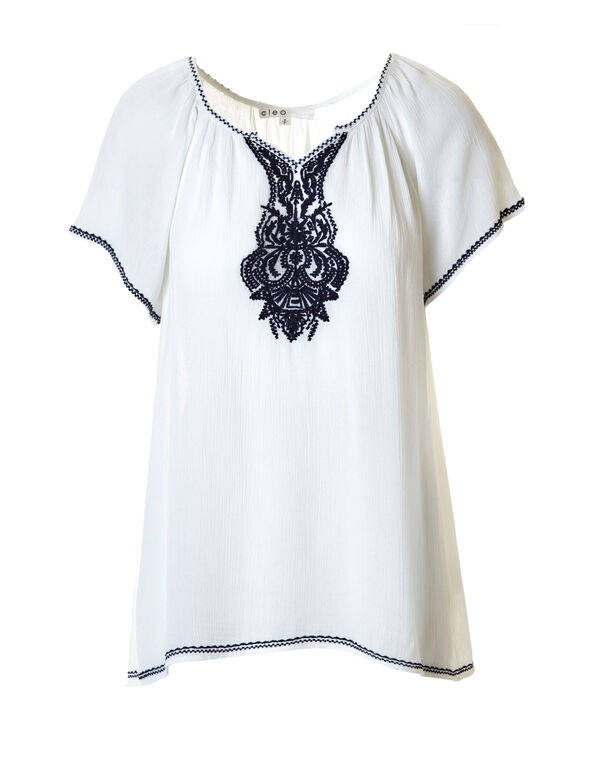 White Embroidered Top, White/Navy, hi-res