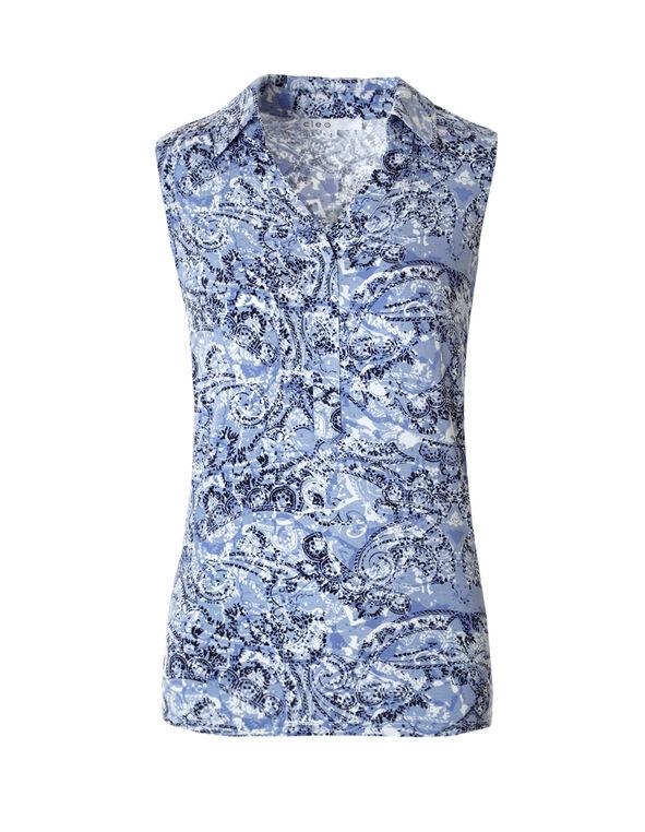 Blue Paisley Collared Tee, Blue Paisley Print, hi-res