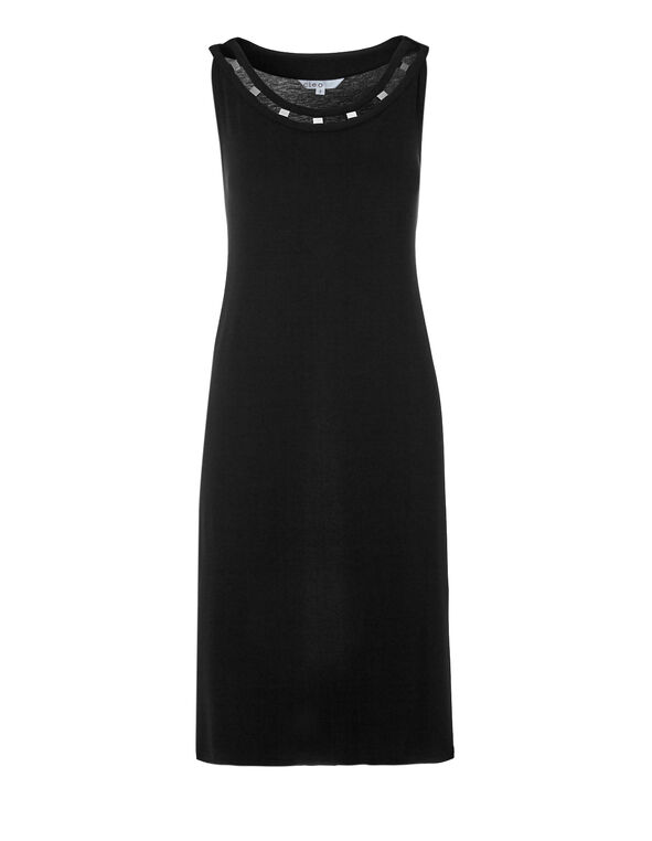 Black Metal Cutout Dress, Black, hi-res