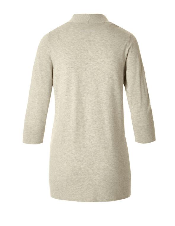 Oat 3/4 Sleeve Open Cardigan, Oat Melange, hi-res