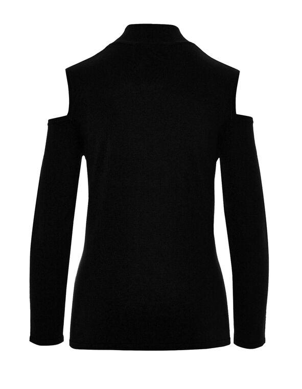 Black Cold Shoulder Sweater, Black, hi-res
