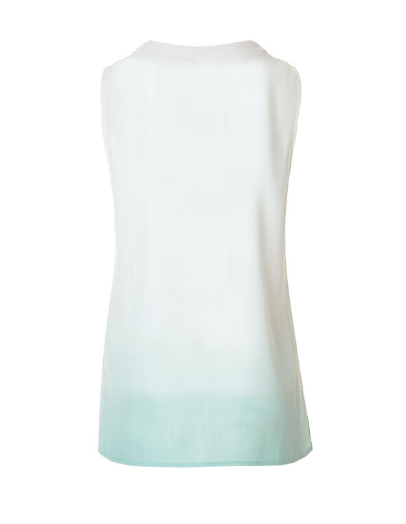 Mint Ombre Sleeveless Blouse, Mint/White, hi-res