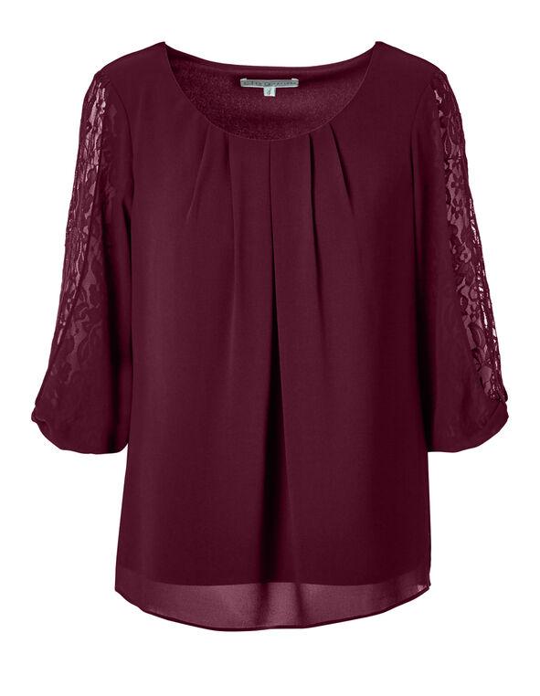 Claret Lace Sleeve Blouse, Claret, hi-res
