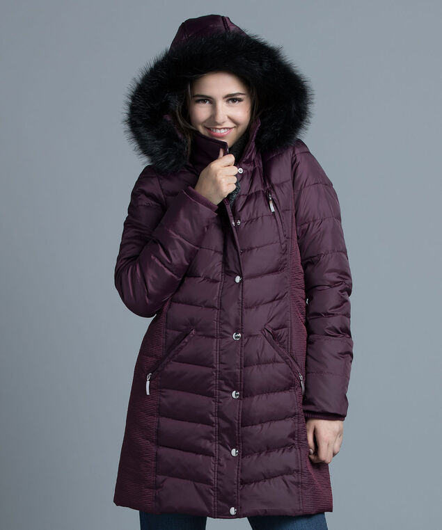 Side Ruched Puffer Coat, Dark Purple, hi-res