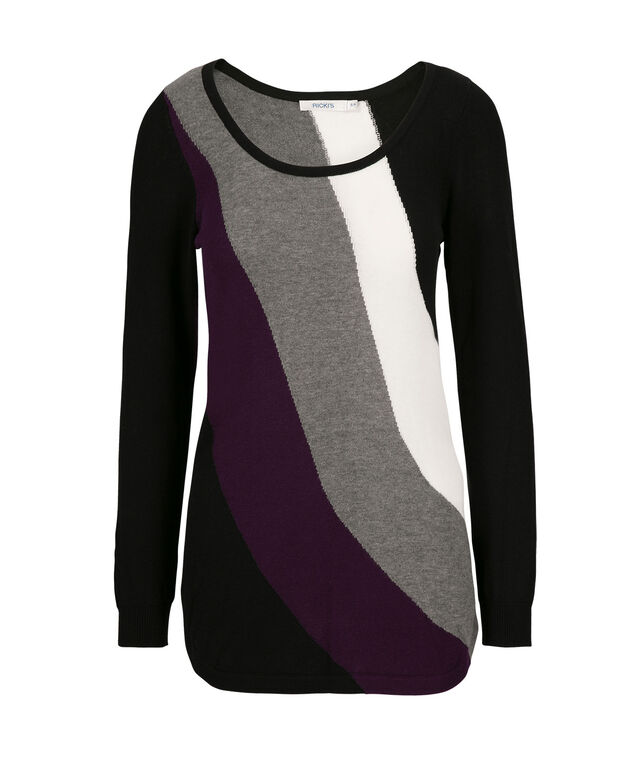 Curved Hem Pullover, Black/Purple/Milkshake/Grey, hi-res