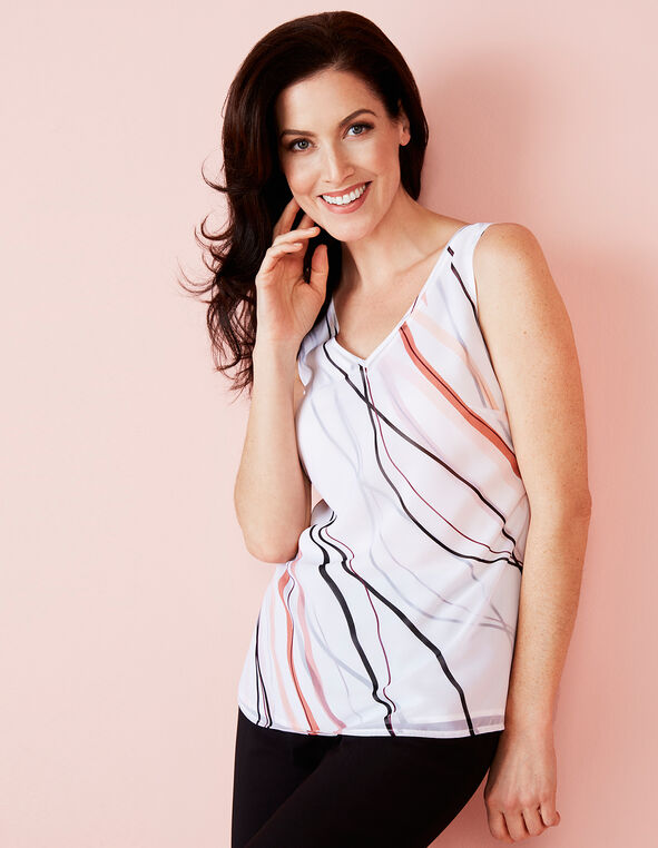 V-Neck Layered Blouse, White/Pink/Clay/Black, hi-res
