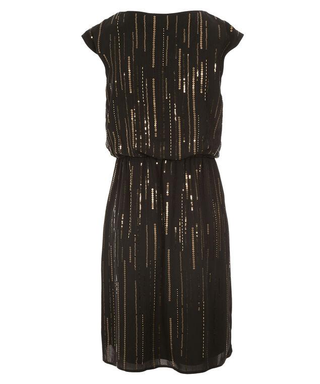 Sequin Scoop Blouson Dress, Black, hi-res