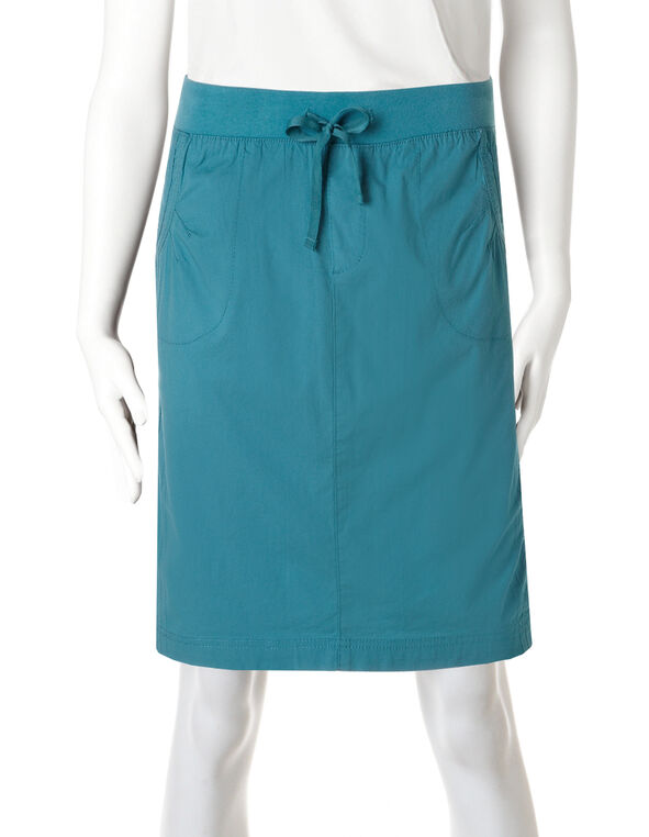 Poplin Pull-On Skirt, Cool Water, hi-res