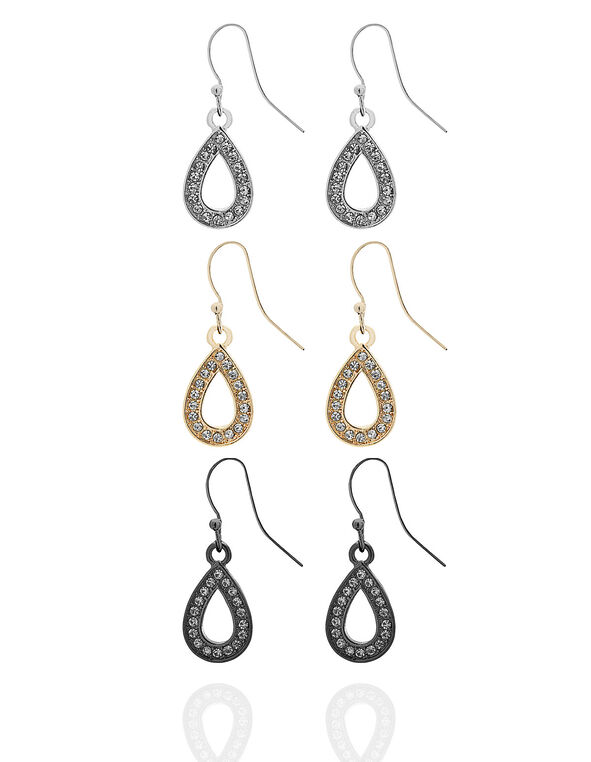 Teardrop Trio Earring Set, Silver/Rose Gold/Black, hi-res