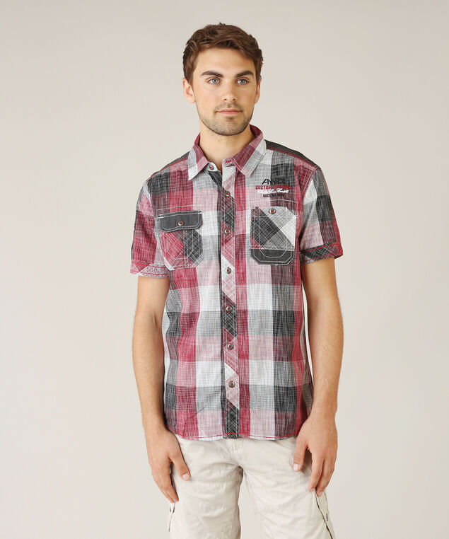 2 pocket plaid - wb, RED PLAID, hi-res