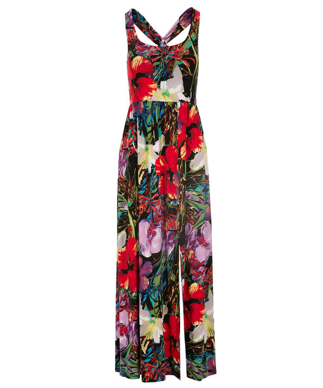 Floral Print Maxi Dress, Black Floral Print, hi-res