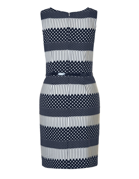 Navy Dot Belted Shift Dress, Navy/White, hi-res