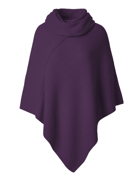 Plum Ottoman Poncho With Scarf, Deep Plum, hi-res
