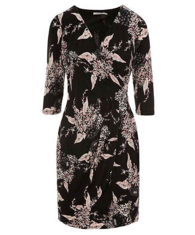 Side Wrap Dress, Black/Pink Print, hi-res