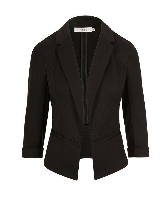 Knit Open Crop Blazer, Black, hi-res