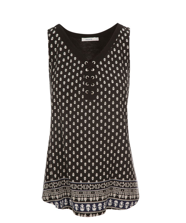 Lace Up Tank, Black Print, hi-res