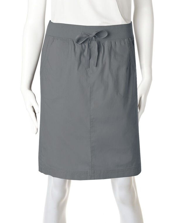 Poplin Pull-On Skirt , Grey, hi-res
