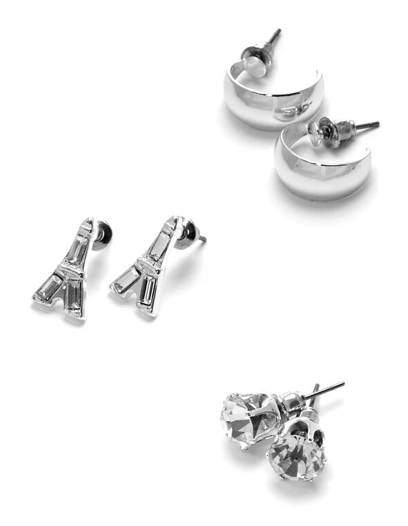 Eiffel Tower Trio Earring Set, Silver, hi-res