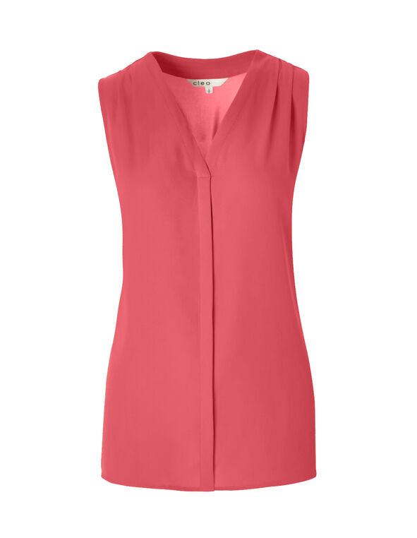 Coral Sleeveless Blouse, Coral, hi-res
