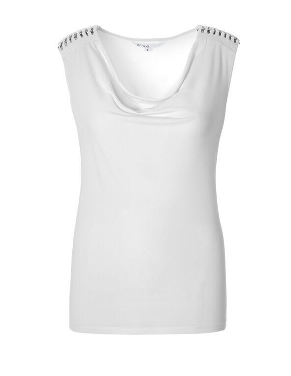 White Cowl Neck Top, White, hi-res