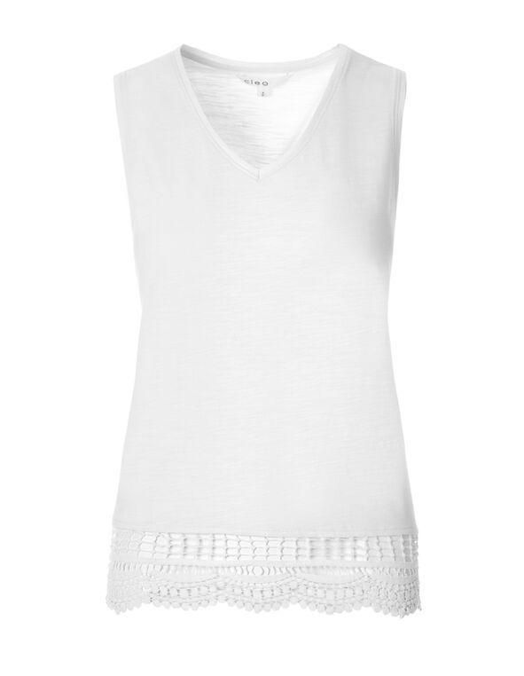 White Crochet Trim Sleeveless Tee, White, hi-res