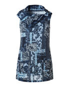 Patchwork Cowl Tunic Top, Navy/Blue/Grey/Ivory, hi-res