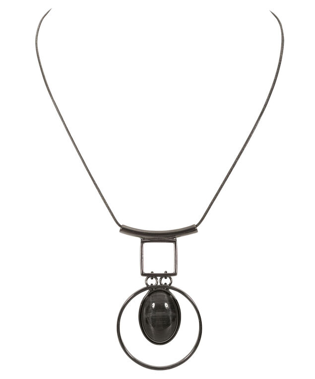 Cut Out Circle Cateye Necklace, Black/Hematite, hi-res