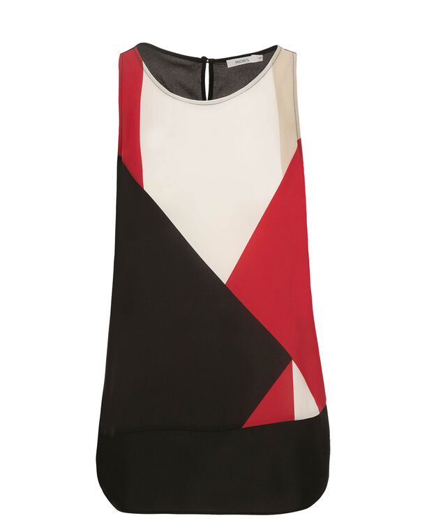 Colourblock Blouse Tank, Red Print, hi-res
