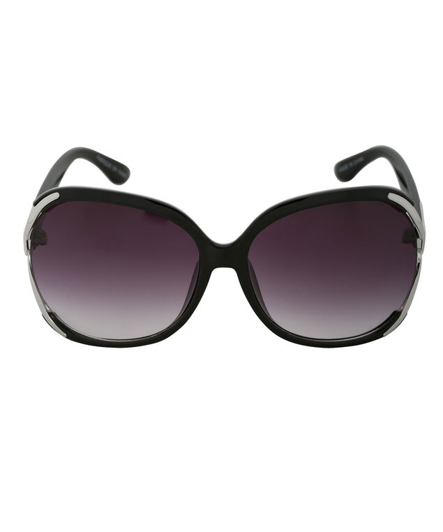 Metal Temple Detail Sunglasses, Black/Silver, hi-res