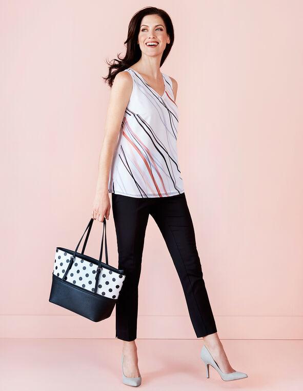 Black Polka Dot Tote Handbag, White/Black, hi-res