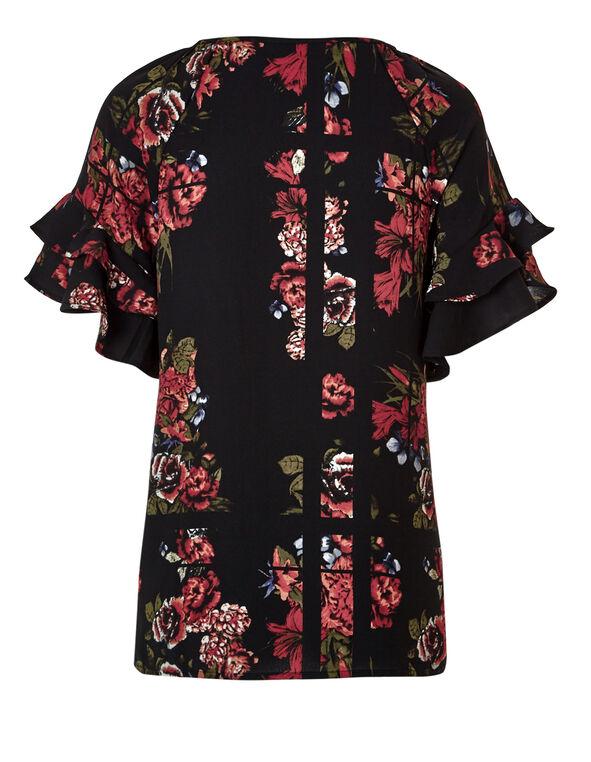 Floral Flutter Sleeve Blouse, Black/Red/Olive/White, hi-res