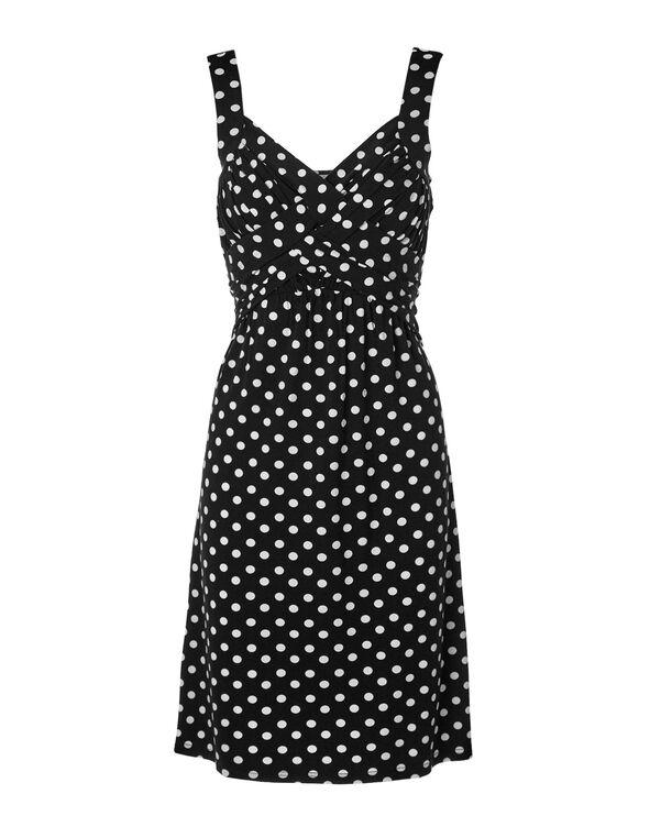 Polkadot Criss-Cross A-Line Dress, Black/White, hi-res