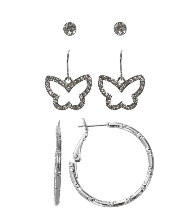 Butterfly Earring Trio, Rhodium, hi-res
