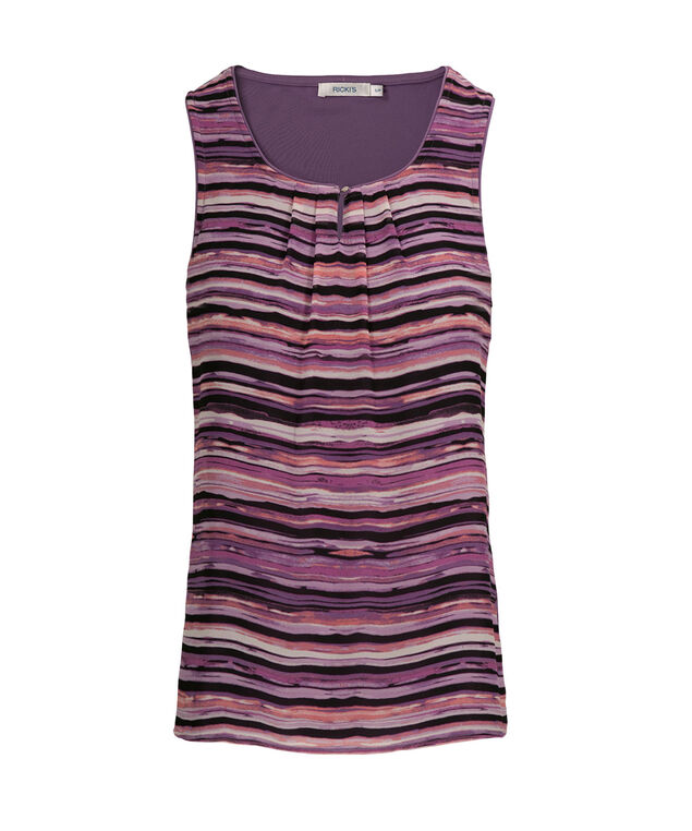 Pleat Neck Woven Overlay, Purple Stripe, hi-res