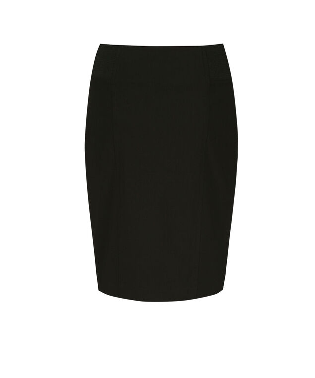 Microtwill Elastic Skirt, Black, hi-res