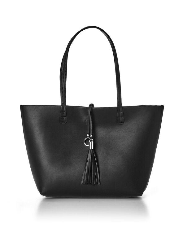 Black Summer Tote Handbag, Black/Pewter, hi-res