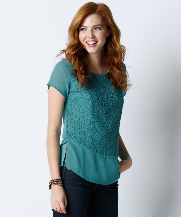 Lace Front Chiffon Trim Tee, Mid Teal, hi-res