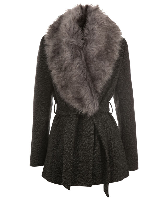 Fur Collar Coat, Grey, hi-res