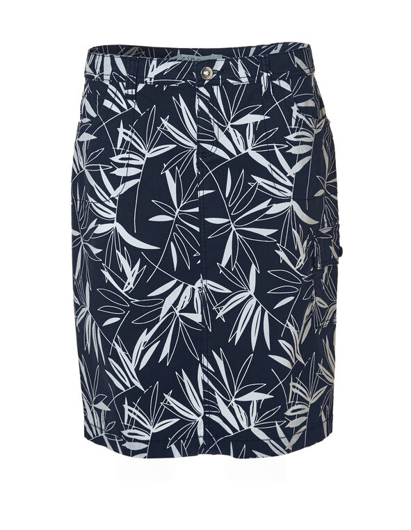 Navy Palm Poplin Cargo Skirt, Navy/White, hi-res