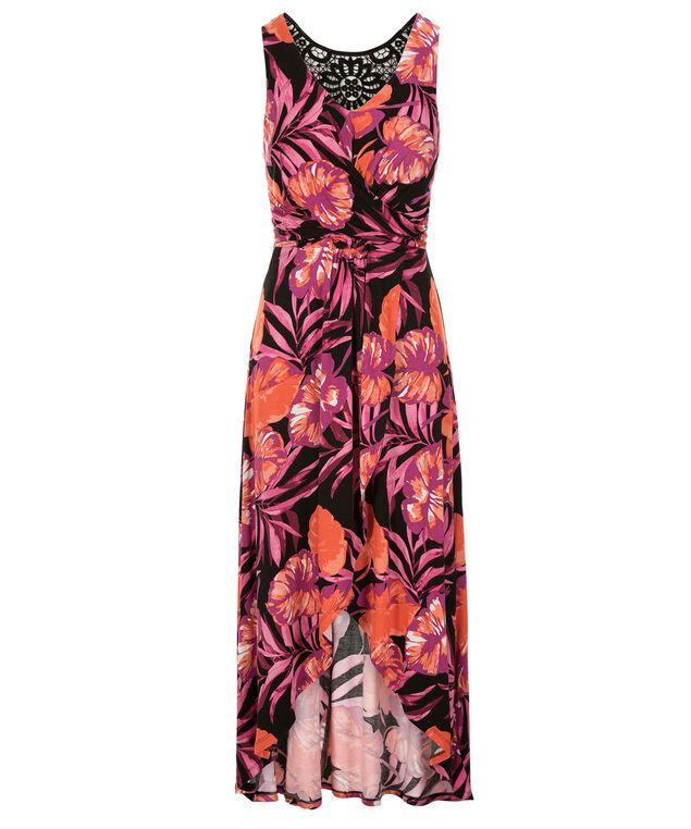 Knot Front Maxi Dress, Pink/Orange Print, hi-res